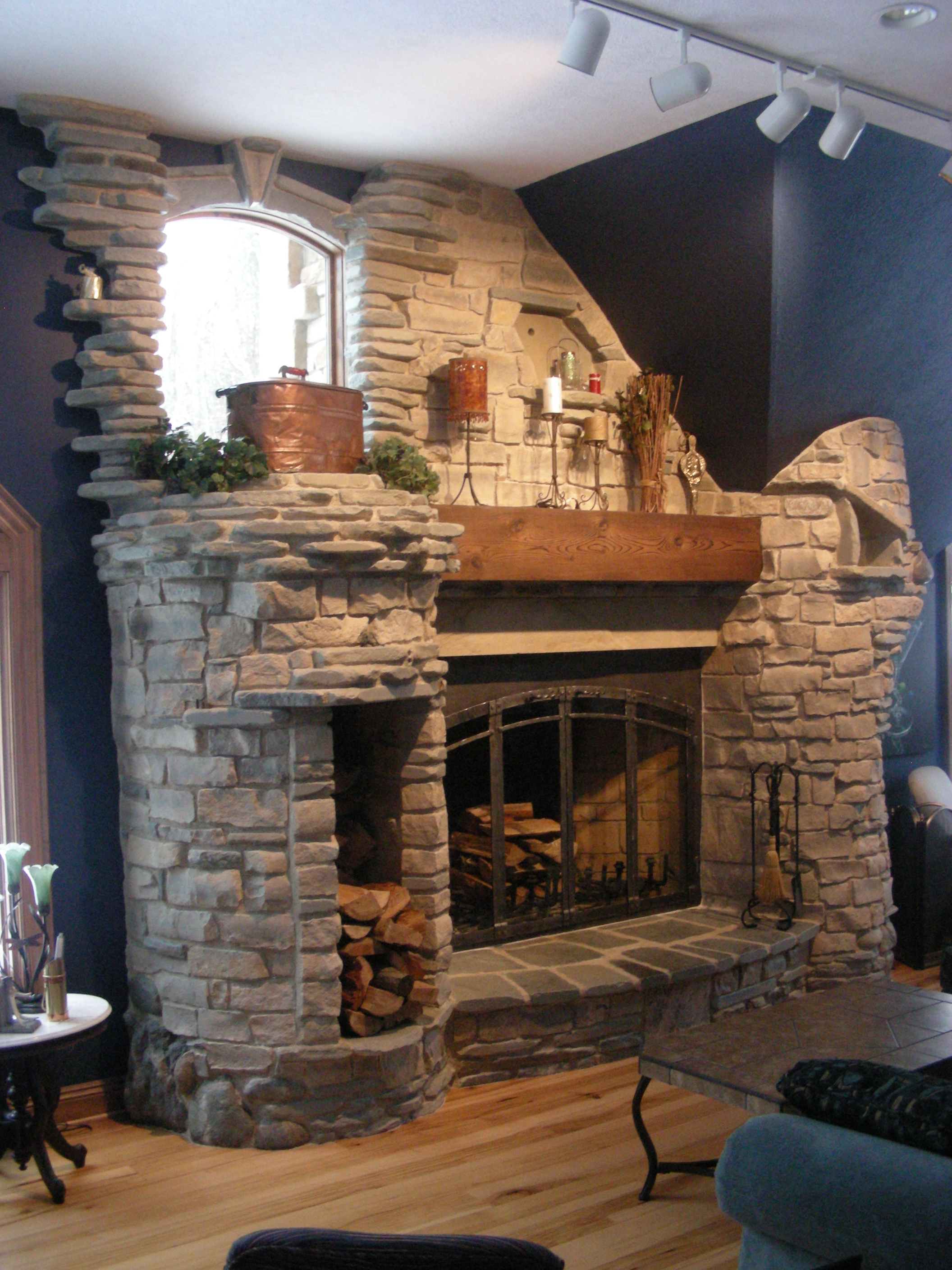 6-foot rumford fireplace. natural stone. | yoder masonry, inc.