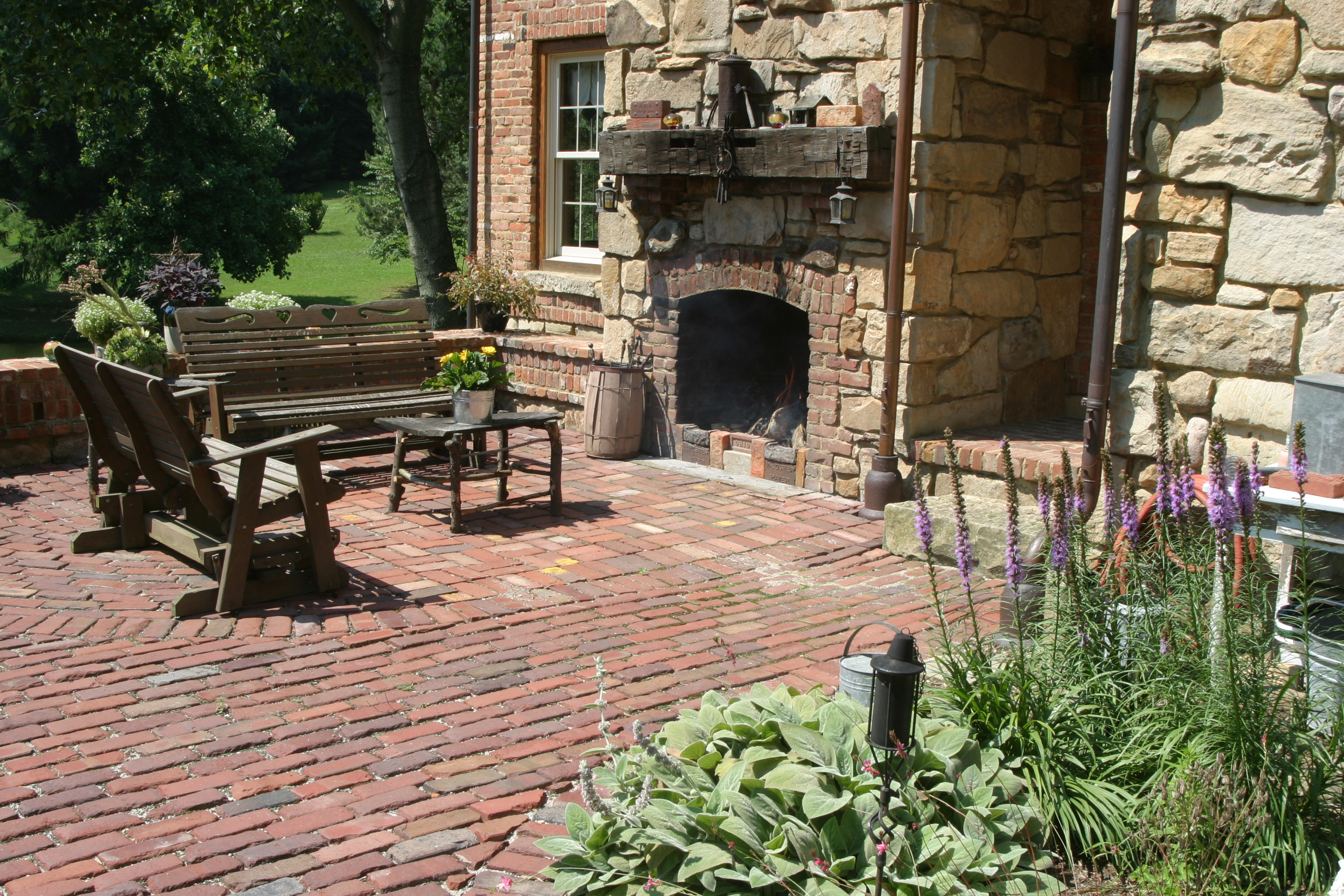 Pictures Of Outdoor Patios With Fireplaces : Indooroutdoor fireplace and outdoor patio area detail  Yoder