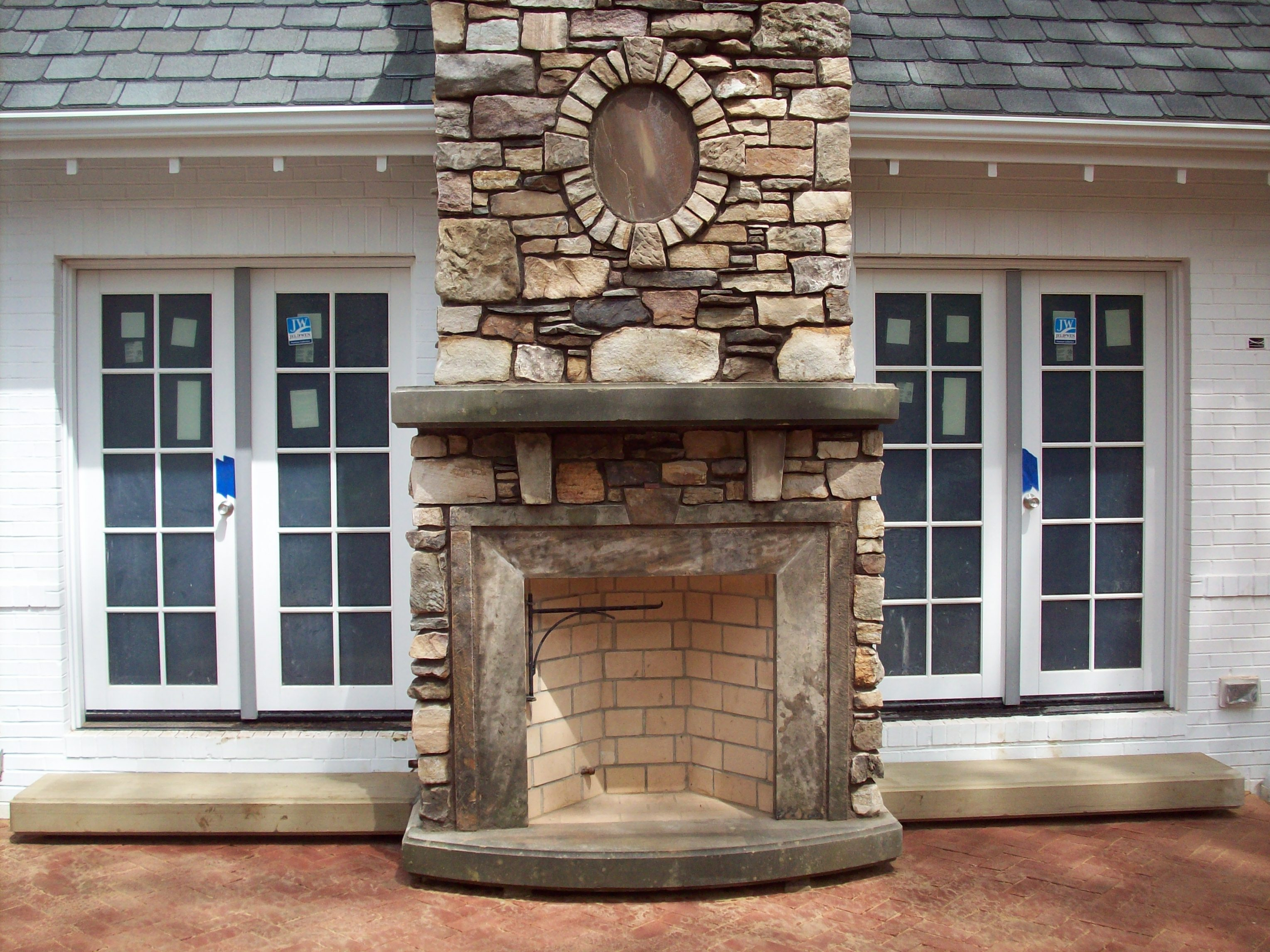 old stone fireplace. Detail  Fireplace Hearth Mantle Steps Yoder Masonry Inc