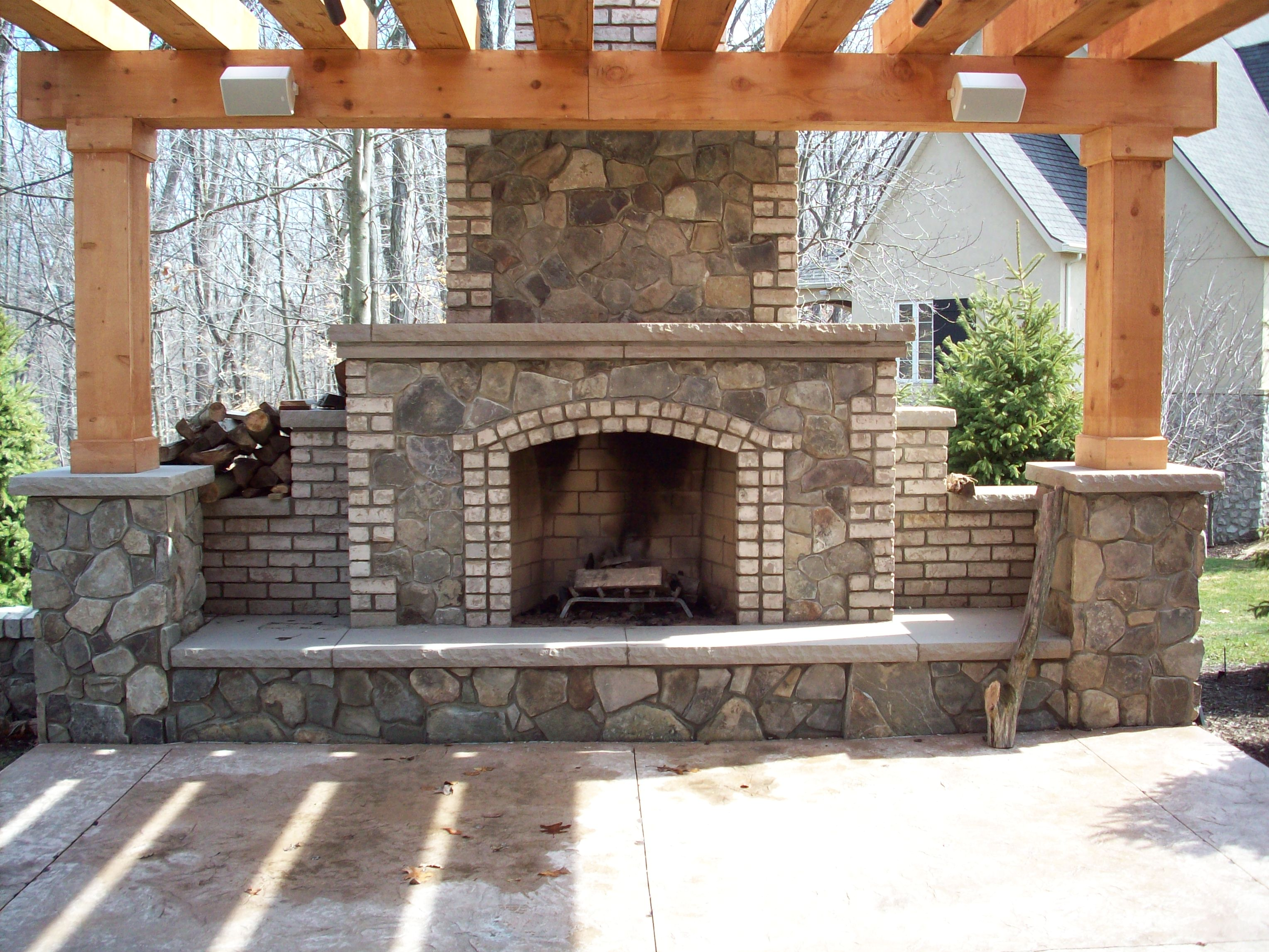 Outdoor fireplace, Belden brick, natural stone and limestone hearth ...