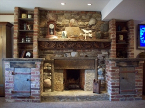 Rumford Fireplace with Repurposed Materials