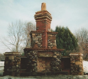 Outdoor Rumford Fireplace: Salvaged Materials and Keepsakes